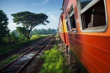 Train moving through coutryside in a sunny day. Sri Lanka-shutterstock_161657378